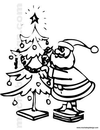 printable santa decorating christmas tree kids coloring page