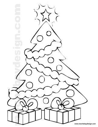 Printable Christmas Tree With Star And Decorations Coloring Page
