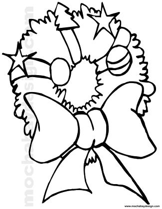 Printable Puffy Christmas Wreath With Big Bow Coloring Page
