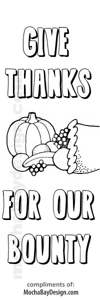 Give Thanks Bounty View Print This Thanksgiving Coloring Bookmark