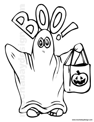 Cute Boo Ghost Printable Halloween Kids Coloring Page Ghost Coloring Page