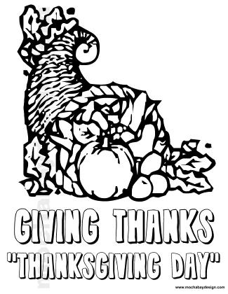Giving Thanks Cornucopia Printable Thanksgiving Kids Coloring Page