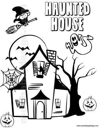 View And Print Haunted House Halloween Kids Coloring Page