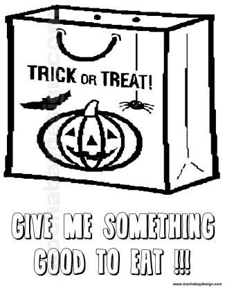 View And Print Candy Trick Or Treat Bag Halloween Kids Coloring Page