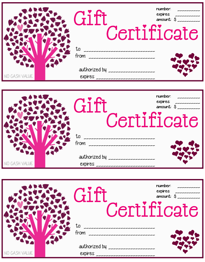 Printable Gift Certificate - Heart Tree : MochaBayDesign.com