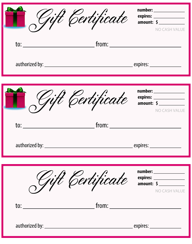 Gift Certificate Pink and White : MochaBayDesign.com