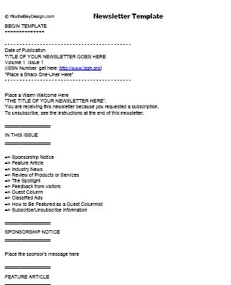 print newsletter template free