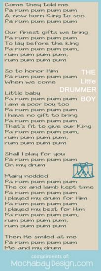 Print Drummer Boy Christmas Song Lyrics Bookmark