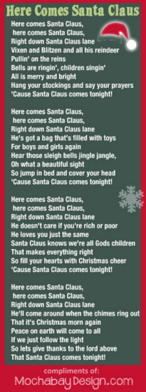 picture relating to Printable Christmas Song Lyrics identified as Print Right here Arrives Santa Claus Xmas Track Lyrics Bookmark