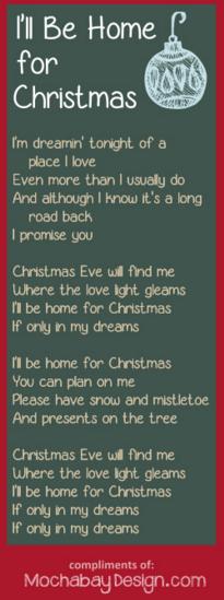 ill be home for christmas free printable christmas holiday song lyrics - I Will Be Home For Christmas