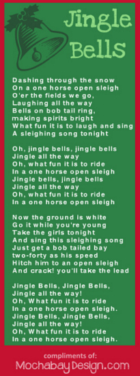 photograph regarding Jingle Bells Lyrics Printable named Print Jingle Bells Xmas Track Lyrics Bookmark