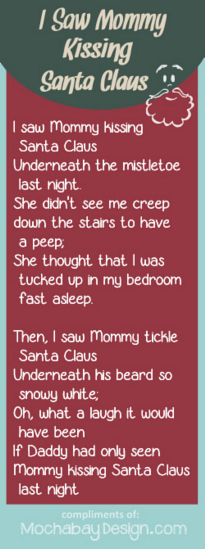 Print I Saw Mommy Kissing Santa Claus Song Lyrics Bookmark