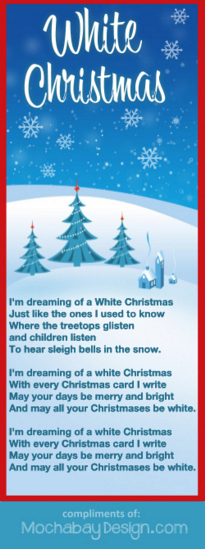Print White Christmas Holiday Song Lyrics Bookmark