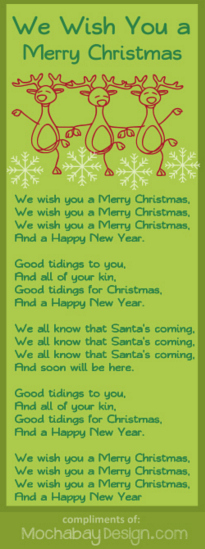 Print We Wish You a Merry Christmas Song Lyrics Bookmark