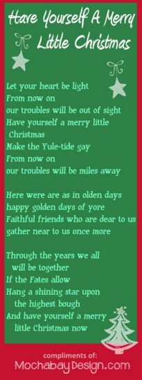 Merry Little Christmas Lyrics.Print Merry Little Christmas Song Lyrics Bookmark