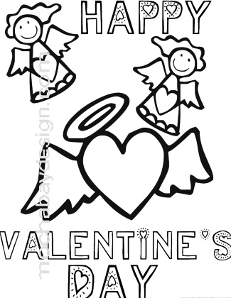 Angels Happy Valentines Day Printable Coloring Page