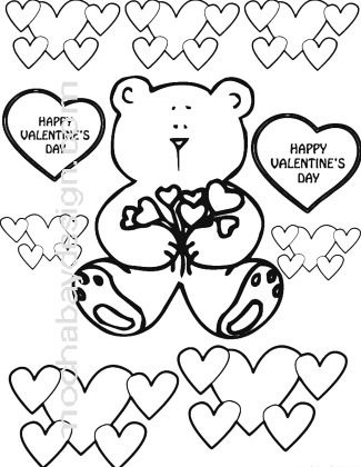 Printable Bears and Hearts Valentine\'s Day Coloring Page