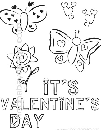 Printable Butterfly And Flowers Valentine S Day Coloring Page