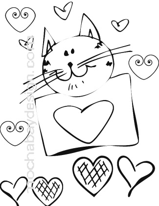 cat valentine coloring pages for kids | Printable Smiling Cat Valentine's Day Coloring Page