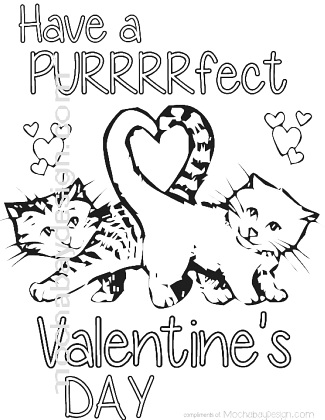 purrfect cats with heart tail printable coloring page for valentines day